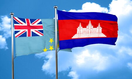 cambodian flag: Tuvalu flag with Cambodia flag, 3D rendering Stock Photo