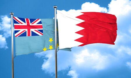 bahrain: Tuvalu flag with Bahrain flag, 3D rendering
