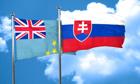 slovakia flag: Tuvalu flag with Slovakia flag, 3D rendering Stock Photo