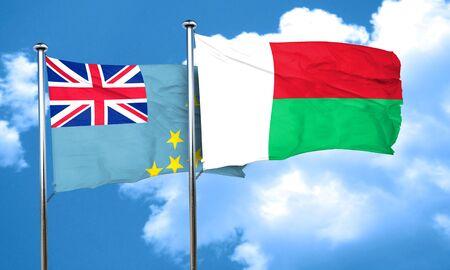 tuvalu: Tuvalu flag with Madagascar flag, 3D rendering