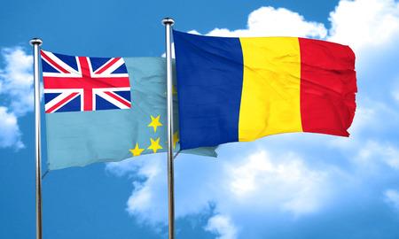 romania flag: Tuvalu flag with Romania flag, 3D rendering