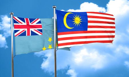 tuvalu: Tuvalu flag with Malaysia flag, 3D rendering Stock Photo