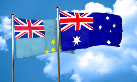 tuvalu: Tuvalu flag with Australia flag, 3D rendering