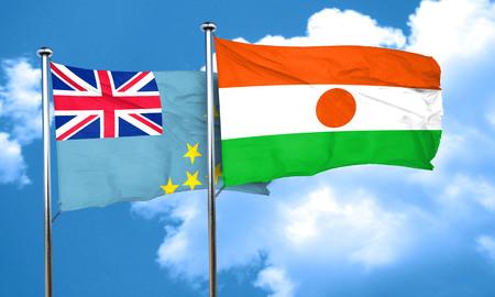 tuvalu: Tuvalu flag with Niger flag, 3D rendering
