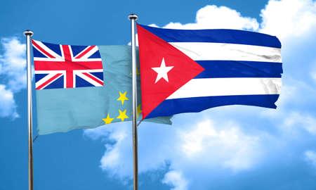 cuba flag: Tuvalu flag with cuba flag, 3D rendering