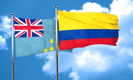 bandera de colombia: bandera de Tuvalu con bandera de Colombia, 3D