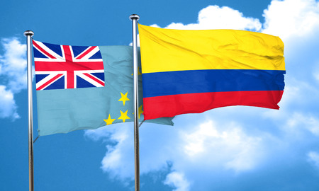 colombia flag: Tuvalu flag with Colombia flag, 3D rendering