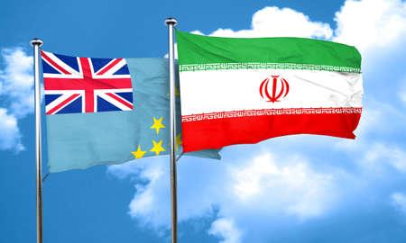 tuvalu: Tuvalu flag with Iran flag, 3D rendering