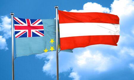 austria flag: Tuvalu flag with Austria flag, 3D rendering