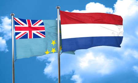 flag of netherlands: Tuvalu flag with Netherlands flag, 3D rendering Stock Photo
