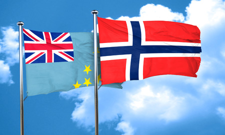 norway flag: Tuvalu flag with Norway flag, 3D rendering Stock Photo