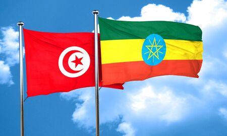 ethiopia flag: Tunesia flag with Ethiopia flag, 3D rendering Stock Photo