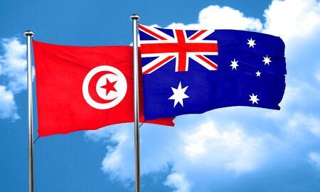 australia flag: Tunesia flag with Australia flag, 3D rendering