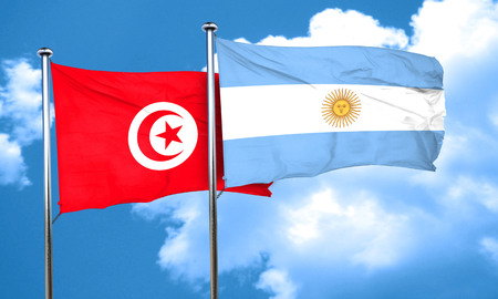 argentine: Tunesia flag with Argentine flag, 3D rendering