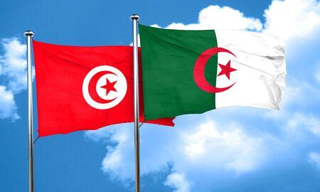 algeria: Tunesia flag with Algeria flag, 3D rendering