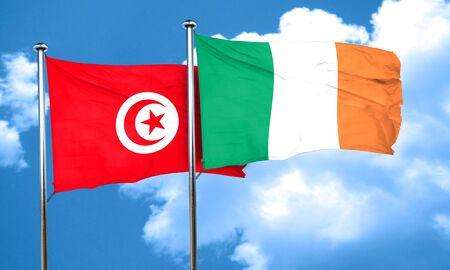 bandera de irlanda: bandera de T�nez con la bandera de Irlanda, 3D