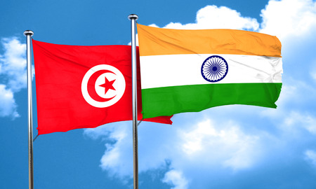 india 3d: Tunesia flag with India flag, 3D rendering