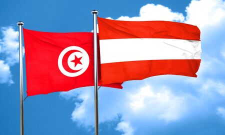 austria flag: Tunesia flag with Austria flag, 3D rendering Stock Photo