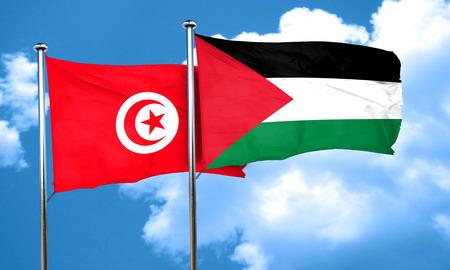palestine: Tunesia flag with Palestine flag, 3D rendering