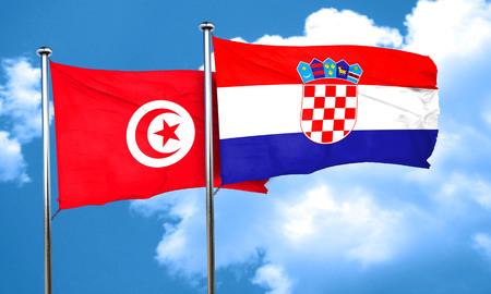 bandera croacia: bandera de T�nez con la bandera de Croacia, 3D
