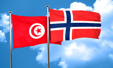 norway flag: Tunesia flag with Norway flag, 3D rendering