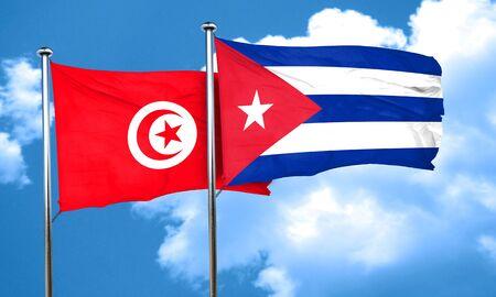 cuba flag: Tunesia flag with cuba flag, 3D rendering Stock Photo