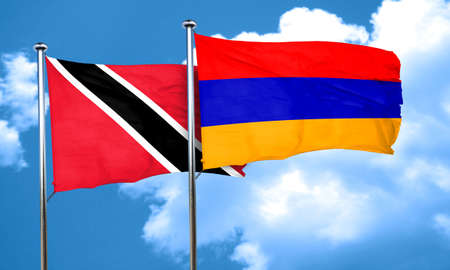 tobago: Trinidad and tobago flag with Armenia flag, 3D rendering
