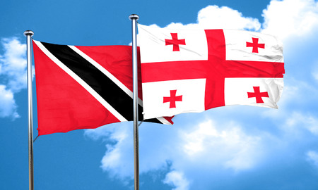 trinidad and tobago: Trinidad and tobago flag with Georgia flag, 3D rendering