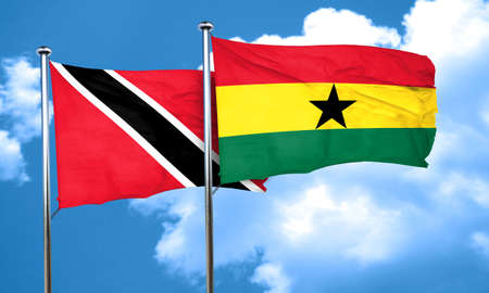 tobago: Trinidad and tobago flag with Ghana flag, 3D rendering Stock Photo