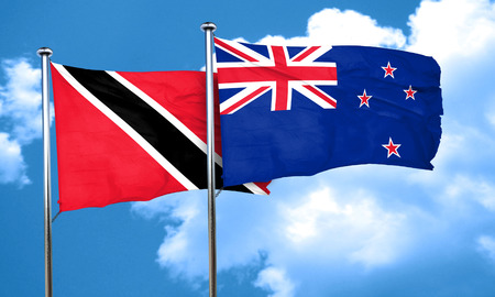 trinidad and tobago: Trinidad and tobago flag with New Zealand flag, 3D rendering