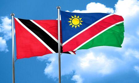 tobago: Trinidad and tobago flag with Namibia flag, 3D rendering