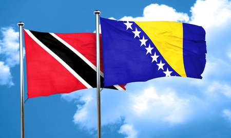 trinidad and tobago: Trinidad and tobago flag with Bosnia and Herzegovina flag, 3D rendering Stock Photo