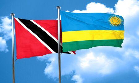 tobago: Trinidad and tobago flag with rwanda flag, 3D rendering Stock Photo