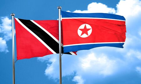 trinidad and tobago: Trinidad and tobago flag with North Korea flag, 3D rendering