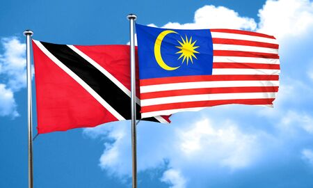 trinidad and tobago: Trinidad and tobago flag with Malaysia flag, 3D rendering