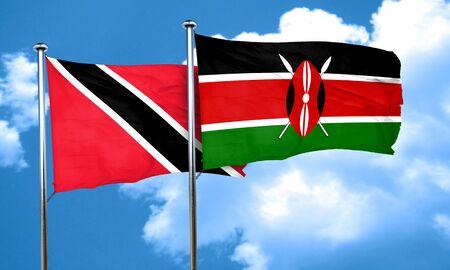 tobago: Trinidad and tobago flag with Kenya flag, 3D rendering Stock Photo