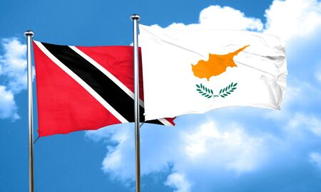trinidad and tobago: Trinidad and tobago flag with Cyprus flag, 3D rendering Stock Photo
