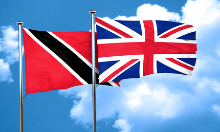 britain flag: Trinidad and tobago flag with Great Britain flag, 3D rendering
