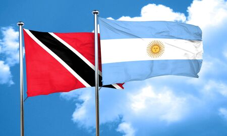 argentine: Trinidad and tobago flag with Argentine flag, 3D rendering Stock Photo