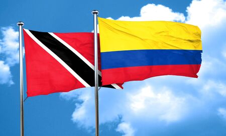 trinidad and tobago: Trinidad and tobago flag with Colombia flag, 3D rendering