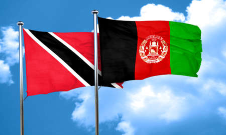 Trinidad and tobago flag with afghanistan flag, 3D rendering