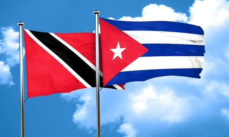 cuba flag: Trinidad and tobago flag with cuba flag, 3D rendering Stock Photo