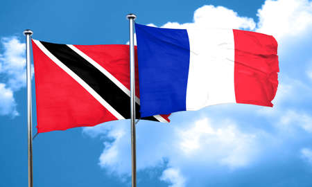 trinidad: Trinidad and tobago flag with France flag, 3D rendering