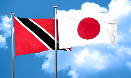 trinidad and tobago: Trinidad and tobago flag with Japan flag, 3D rendering Stock Photo