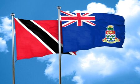 cayman: Trinidad and tobago flag with Cayman islands flag, 3D rendering