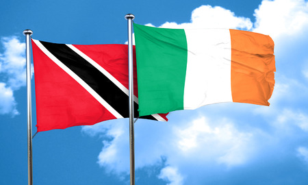 tobago: Trinidad and tobago flag with Ireland flag, 3D rendering Stock Photo