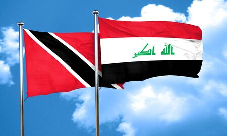 trinidad and tobago: Trinidad and tobago flag with Iraq flag, 3D rendering Stock Photo
