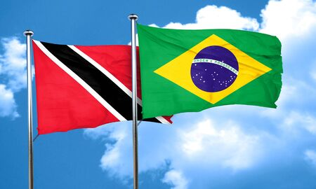 trinidad and tobago: Trinidad and tobago flag with Brazil flag, 3D rendering