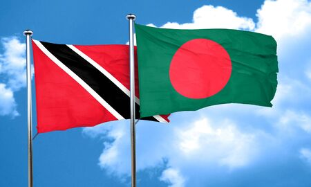 trinidad and tobago: Trinidad and tobago flag with Bangladesh flag, 3D rendering Stock Photo