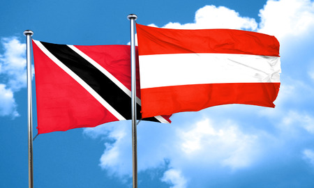 trinidad and tobago: Trinidad and tobago flag with Austria flag, 3D rendering